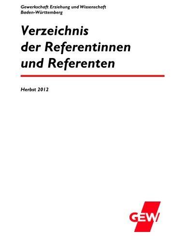 Verzeichnis der Referentinnen und Referenten - Gewerkschaft ...