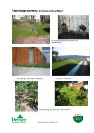 Referenzliste für Bewässerungsanlagen