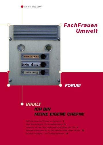 Forum 1 /2007 - FachFrauen Umwelt