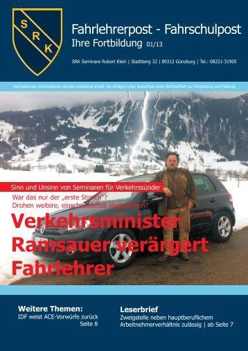 Verkehrsminister Ramsauer verärgert Fahrlehrer - Klein, Robert