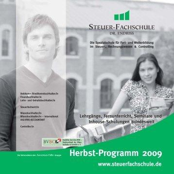 Herbstprogramm 2009 - Steuer-Fachschule Dr. Endriss