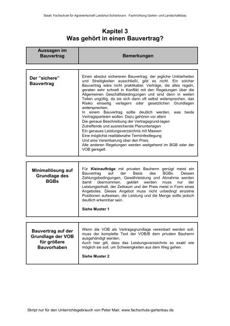 Kapitel 3 Was Gehört In Einen Bauvertrag Fachschule Für Gartenbau