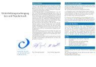 Weiterbildungsstudiengang Jazz und Popularmusik - HfMDK Frankfurt