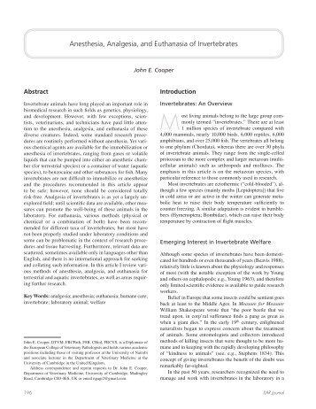Anesthesia, Analgesia, and Euthanasia of Invertebrates