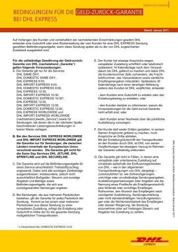 AGB Geld-zurück-Garantie für den nationalen und - DHL