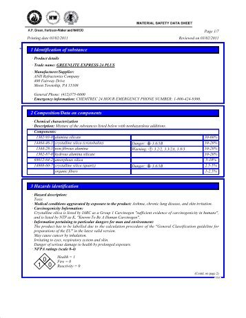 greenlite express-24 plus - Material Safety Datasheets - ANH ...