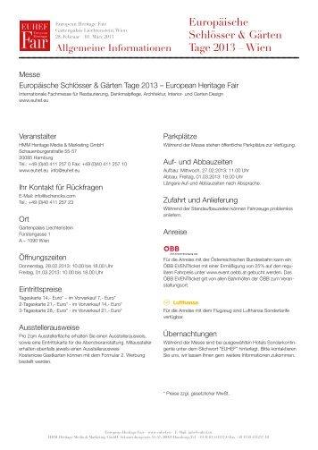 Europäische Schlösser & Gärten Tage 2013 – Wien - EuHef.eu