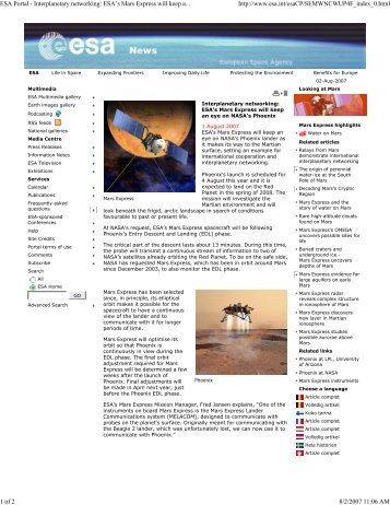 (ESA Portal - Interplanetary networking: ESA\222s Mars Express wi...)