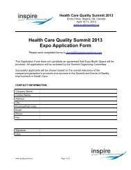 Expo Booking Form - Health Care Quality Summit