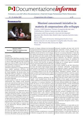 Mozioni concernenti iniziative in materia di cooperazione allo sviluppo