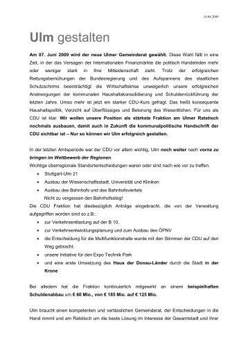 Wahlprogramm 2009 - CDU Stadtverband Ulm