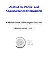 Kommentiertes Vorlesungsverzeichnis WS 2011/12