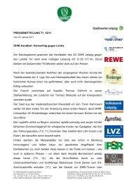 Pressemitteilung 71 - SC DHfK Leipzig eV