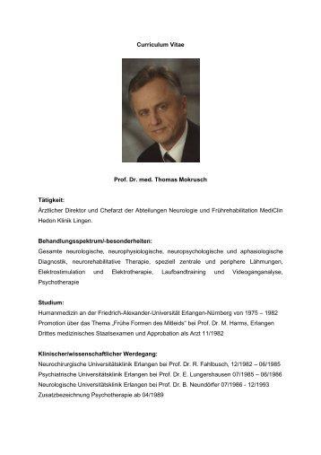 Curriculum Vitae Prof. Dr. med. Thomas Mokrusch Tätigkeit - MediClin