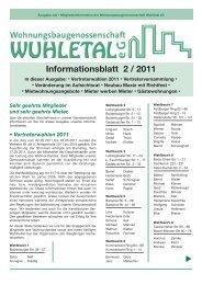 Informationsblatt 2 / 2011 - WG Wuhletal eG
