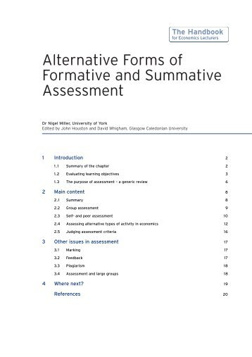 assessment – summative and formative – some theoretical ... - PGCE