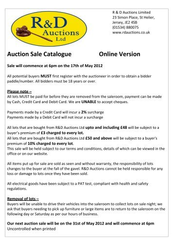 Auction Sale Catalogue Online Version - R&D Auctions