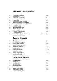Antipasti - Vorspeisen Zuppa - Suppen Insalate – Salate - Gate24.ch