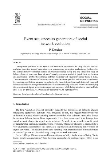 Event sequences as generators of social network evolution - A. Mrvar