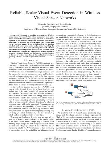 Reliable Scalar-Visual Event-Detection in Wireless Visual Sensor ...