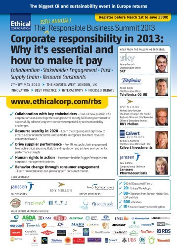 Corporate responsibility in 2013 - Events - Ethical Corporation