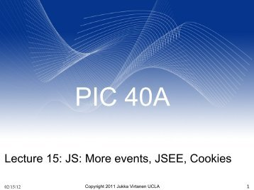 Lecture 15: JS: More events, JSEE, Cookies