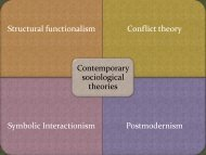 Structural functionalism Conflict theory Symbolic Interactionism ...