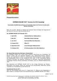 Presseinformation GERMAN INLINE CUP: Termine für 2012 bestätigt
