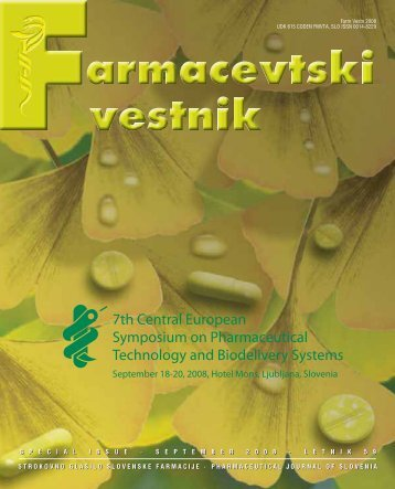 Strokovno Glasilo Slovenske Farmacije • Pharmaceutical Journal
