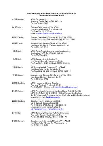 Anschriften der ADAC-Regionalclubs, der ADAC-Camping ...