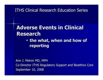 Adverse Events in Clinical Research