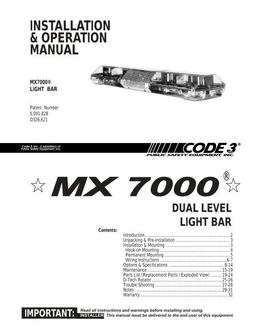 [SCHEMATICS_4FR]  MX 7000 Installation Guide - Code 3 | Mx7000 Light Bar Wiring Diagram |  | Yumpu