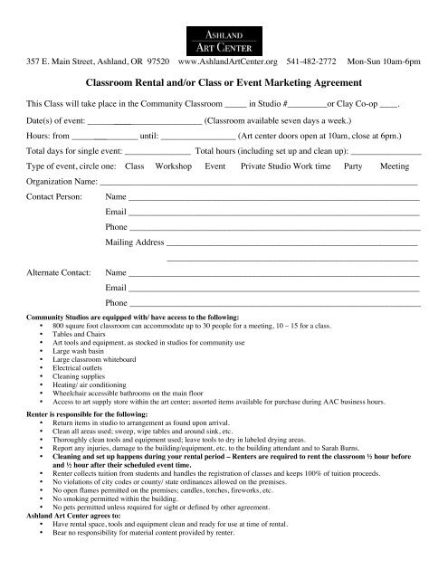 Classroom Rental Andor Class Or Event Marketing Agreement