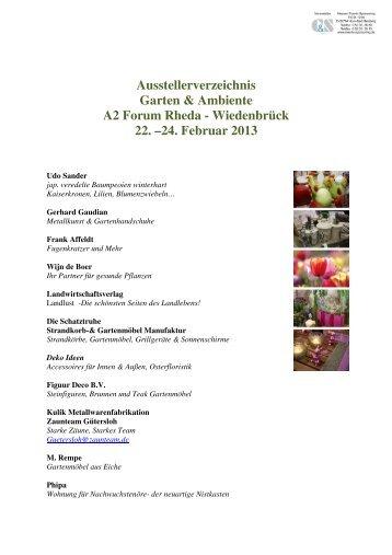 Ausstellerverzeichnis Garten & Ambiete A2 Forum Rheda- Wiedenbrück ...