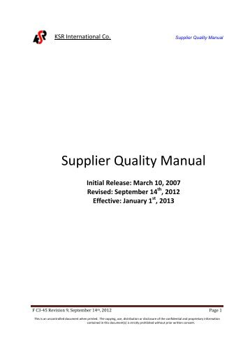 Supplier profile form sri international for Supplier quality manual template