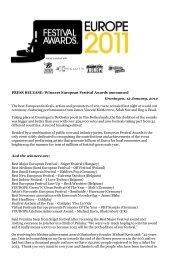 PRESS RELEASE: Winners European Festival Awards announced
