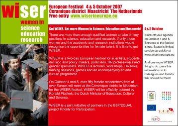 WISER european festival October, 4-5th - Universiteit Twente