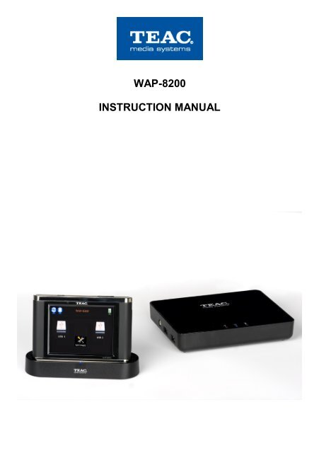 WAP-8500 instruction manual - TEAC Europe GmbH