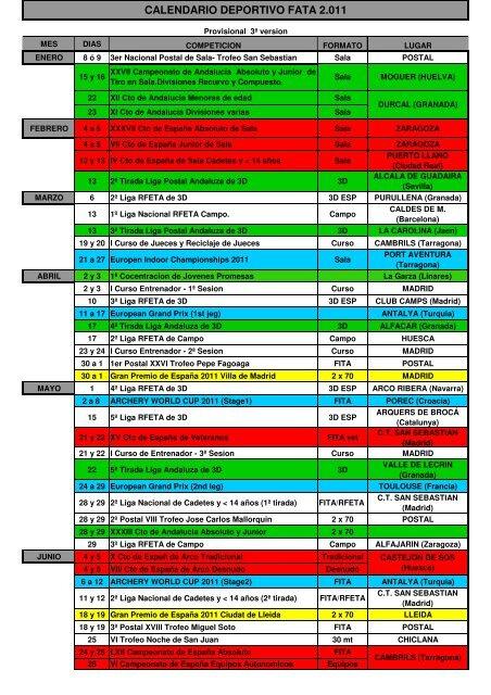 Calendario 2011 Espana.Calendario Competiciones Fata 2011 Club Indalarco