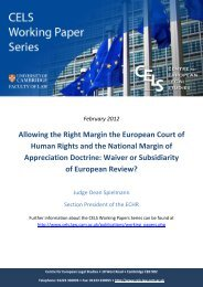 Allowing the Right Margin the European Court of - CELS - University ...