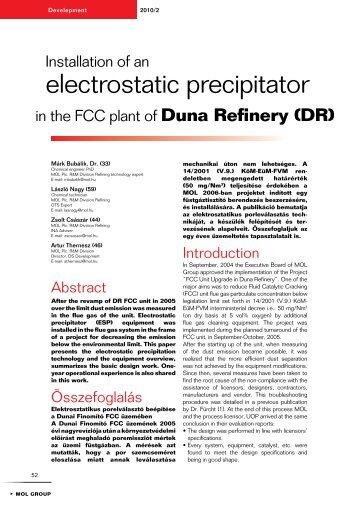 Installation of an electrostatic precipitator in the FCC - Mol