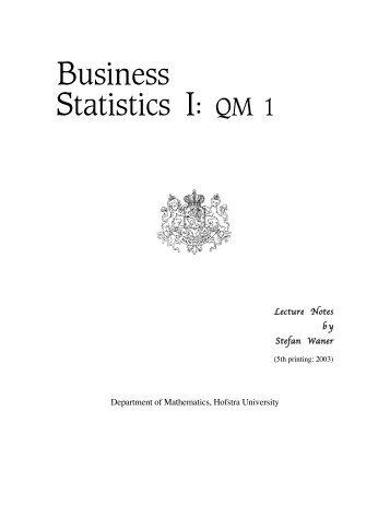 Business Statistics I: QM 1 - Hofstra People - Hofstra University