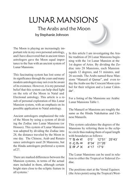LUNAR MANSIONS - Seeing with the Stars Astrology