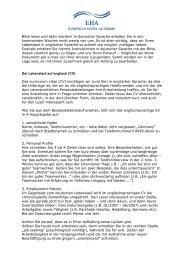Der Lebenslauf auf Englisch Tipps und Hinweise - European Hotel ...