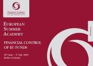 FINANCIAL CONTROL OF EU FUNDS EUROpEAN SUmmER ...