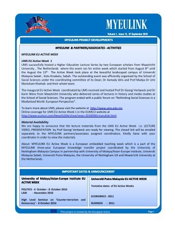 E-bulletin - Issue 15 - September 7th 2010 - MYEULINK
