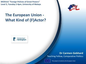 The European Union - What Kind of (F)Actor? - MYEULINK