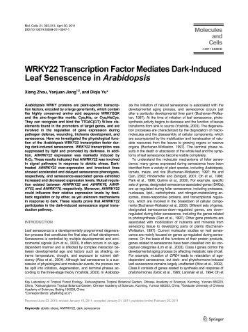 WRKY22 Transcription Factor Mediates Dark-Induced Leaf ...