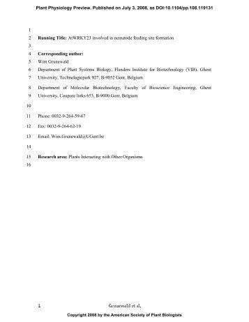 1 Grunewald et al. 1 Running Title: AtWRKY23 ... - Plant Physiology