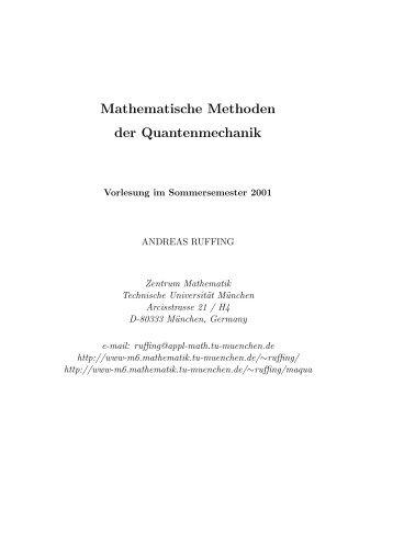 Mathematische Methoden der Quantenmechanik